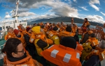 Safety and lifeboat drill on MV Ortelius.