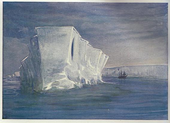 Die Nimrod neben einem Eisberg