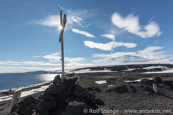 Memorial cross for the 3 men who died during the Aurora expedition, Shackleton's Ross Sea party