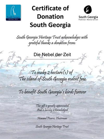 Die Nebel der Zeit: Unterstützung für Südgeorgien