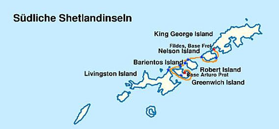 Reiseroute der Kayakexpedition